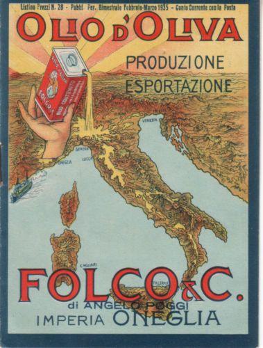 "Vintage Italian Posters ~ #illustrator #Italian #posters ~ Olio d'oliva IMPERIA ONEGLIA "" FOLCO & C"