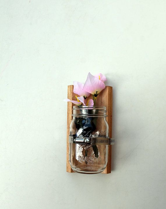 Mason Jar Wall Decor Pinterest : Wall vase reclaimed wood mason jar indoor outdoor