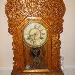 ANTIQUE WATERBURY MANTLE OAK GINGERBREAD CLOCK http://antiquesofamerica.com/antique-waterbury-mantle-oak-clock/