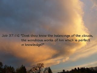 Daily Devotions:   Job 37:16 Do you knowhow the clouds hang poised?...