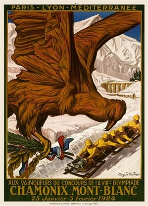 Chamonix Mont Blanc by Mattisse 1924 France - Vintage Poster Reproduction. This travel poster features Olympic winners on a bob sled racing down the track with a bird flying in carrying a crown wreath. Giclee Advertising Print. Classic Posters
