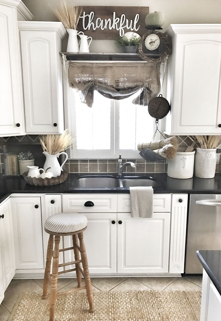 Farmhouse kitchen decor!! Burlap sack curtain! IG @bless_this_nest
