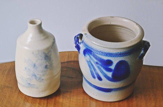 Antique Vintage Salt Glaze Crock And Pottery Jug / Vase