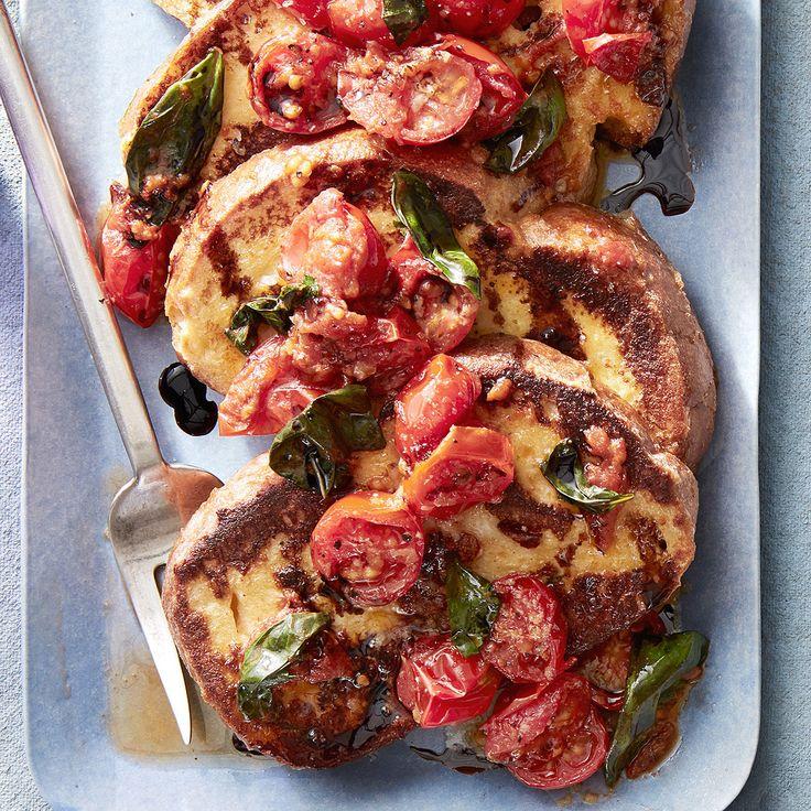 savory french toast cherry tomato basil balsamic sauce