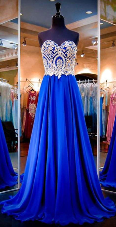 Sweetheart Prom Dress,Applique Prom Dress,Royal Blue Prom Dress,Fashion