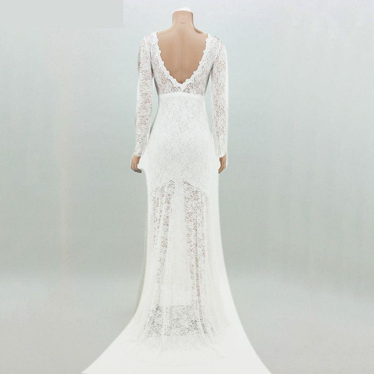 Платье кружево полный, изящные женское приталенный белый с низким вырезом на спине длинная   длина купить на AliExpress