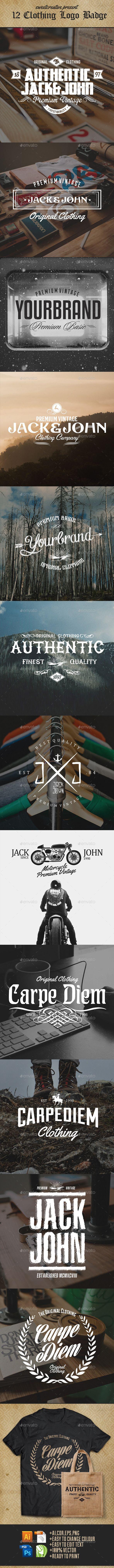 Shirt jack design template - 12 Vintage Clothing Logo Badges Labels Template