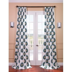 Space Living Mayan Teal Printed Cotton Curtain Panels Drapes Curtains LNT