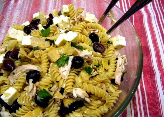 Greek Pasta with Olives, Feta and Oregano