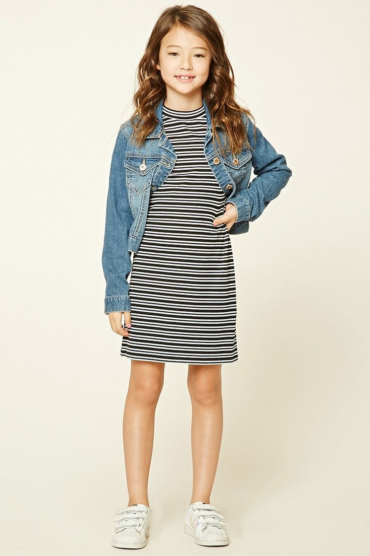 Forever 21 Girls - A ribbed knit shift dress featuring an allover striped pattern, mock neckline, buttoned keyhole back, and 3/4 sleeves.