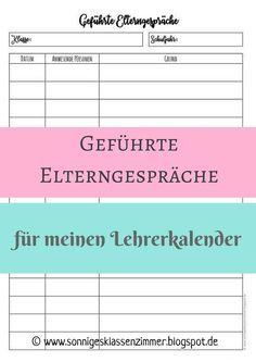 Liste geführte Elterngespräche Lehrerkalender