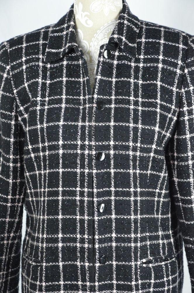 Sag Harbor Womens 10 Black Pink Plaid Shimmer Blazer Button Down Suit Jacket #SagHarbor #Blazer