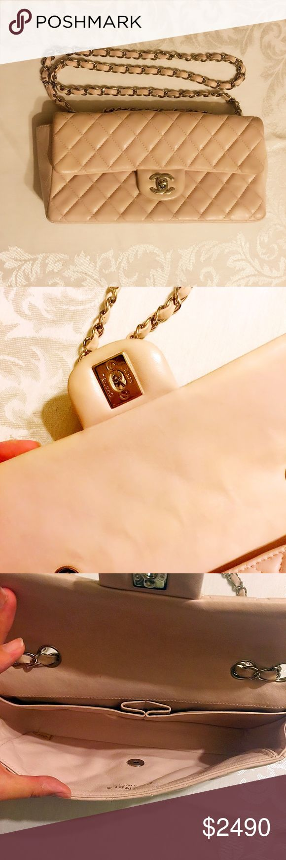 Pink Beige Chanel Single Flap lamb leather bag Sales told me it's light pink when I bought it. To be honest, it looks more like beige than pink. In good condition with normal signs of wear. CHANEL Bags Shoulder Bags