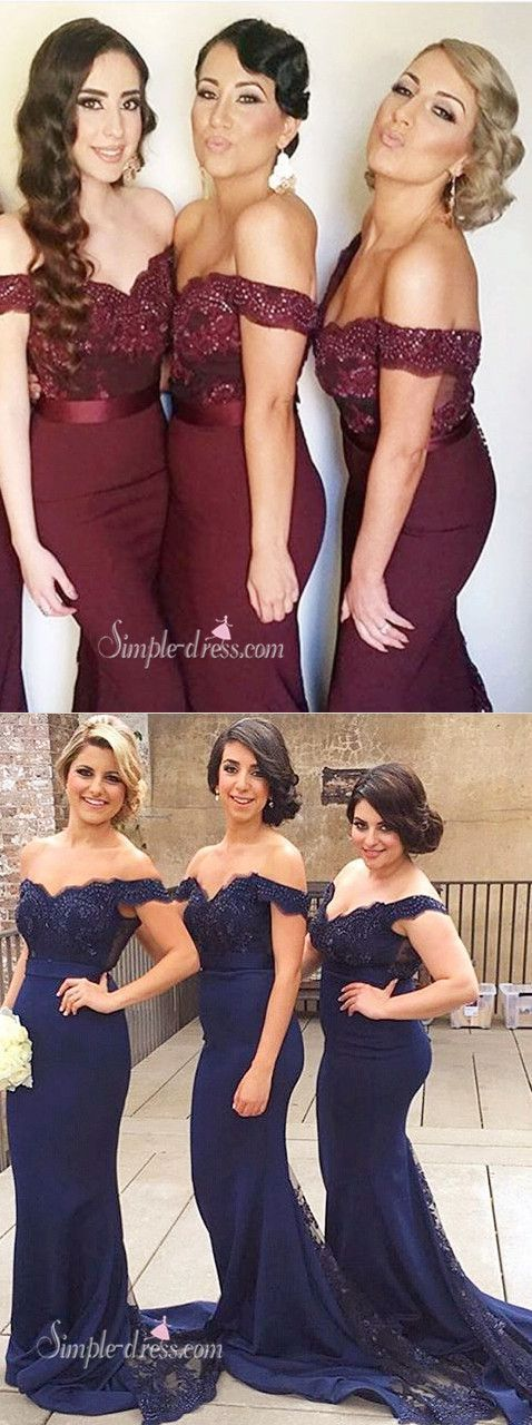 2016 bridesmaid dresses, long bridesmaid dress with court train, mermaid bridesmaid dresses, off the shoulder bridesmaid dresses #bridesmaiddresses