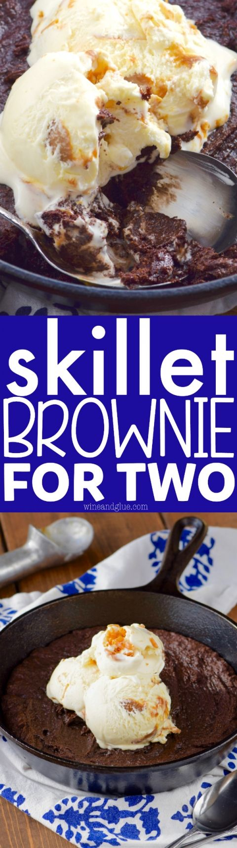 This Skillet Brownie for Two comes together fast in just one bowl and is perfect for a date night or even an after dinner dessert for a family of four!