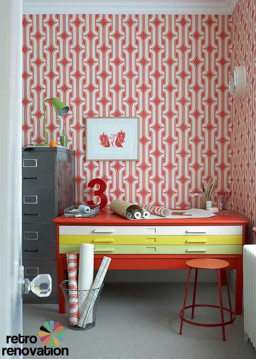Retro wallpaper made from original 1960s and 1970s designs by Little Greene, via Retro Renovation