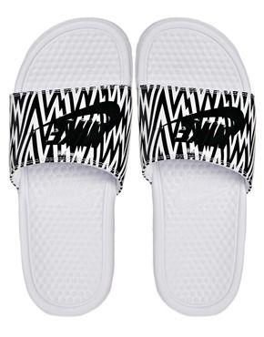Image 3 of Nike Benassi White Printed Sliders