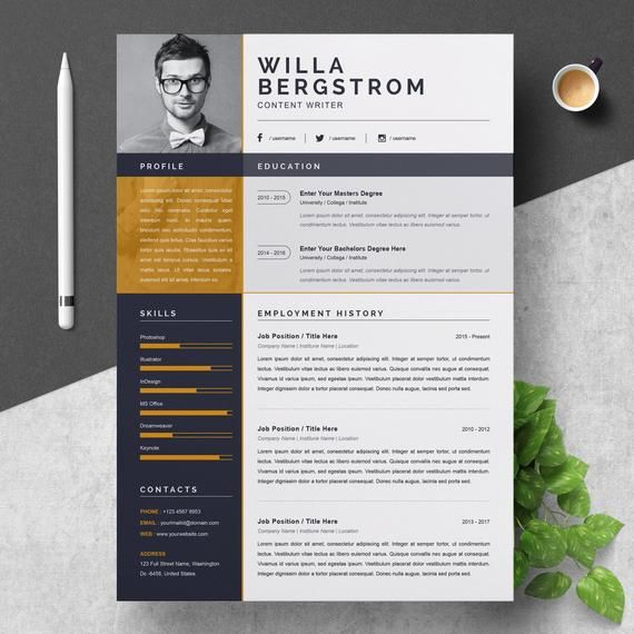 Resume Template Modern Professional Resume Template For Word Cv Resume Cover Letter A4 Size 2 Pages Pack Cover Letter Resume Template Resume Design Template Resume Template Professional