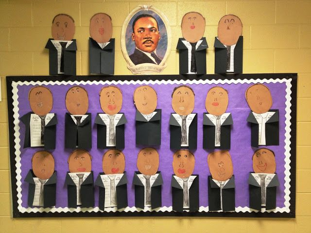 """For Martin Luther King Jr. Day students created these unique projects.  Inside the coat area, students wrote about their own dreams using the title """"I Have a Dream."""""""