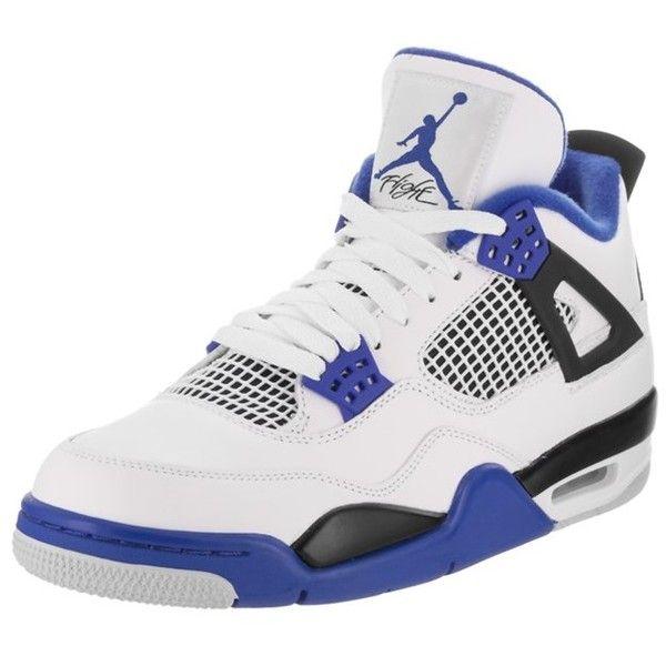 Jordan Nike Jordan Men's Air Jordan 4 Retro Basketball Shoe  ... ($195) ❤ liked on Polyvore featuring men's fashion, men's shoes, men's athletic shoes, shoes, white, mens shoes, mens white leather shoes, nike mens athletic shoes, mens white basketball shoes and mens athletic shoes