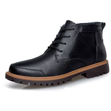 Big Size Men Winter High Top Causal Keep Warm Plush Cotton Boots Leather Shoes - US$64.86