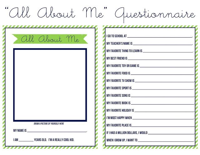 Quot All About Me Quot Questionnaire For Kids Kid Stuff