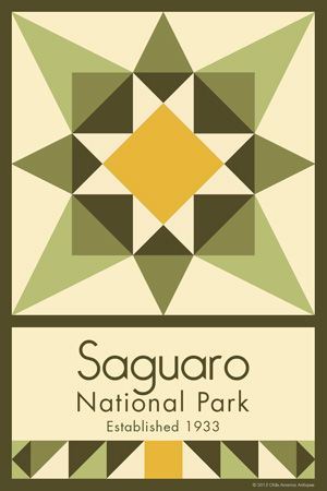 Saguaro National Park Quilt Block designed by Susan Davis. Susan is the owner of Olde America Antiques and American Quilt Blocks She has created unique quilt block designs to celebrate the National Park Service Centennial in 2016. These are the first quilt blocks designed specifically for America's national parks and are new to the quilting hobby.