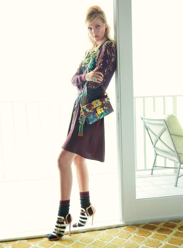 Silk sable patchwork dress, cotton socks, leather handbag, Prada ...