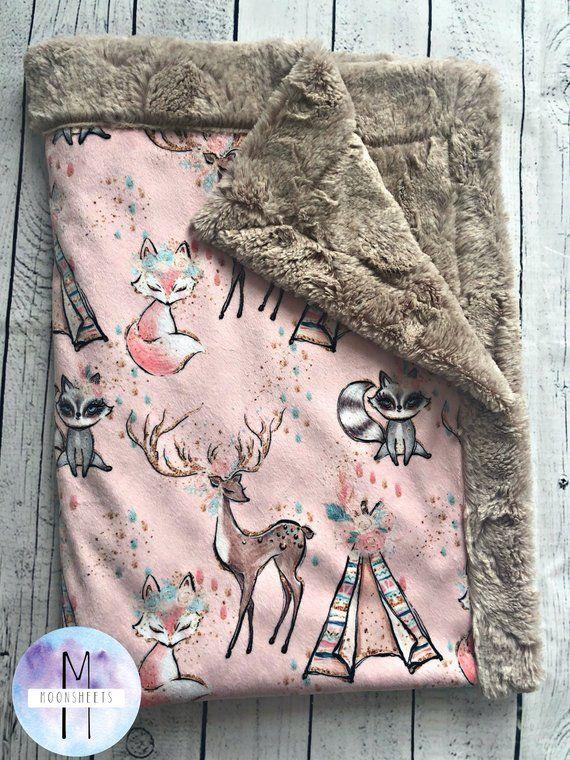 Pretty Woodland Minky Baby Blanket – Crib Blanket – Twin Blanket