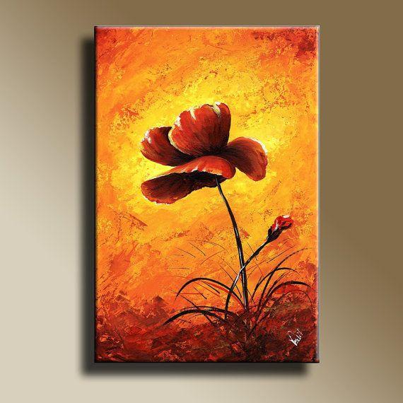 Red Poppies Print of Original Acrylic Painting by EditVorosArt, $10.00