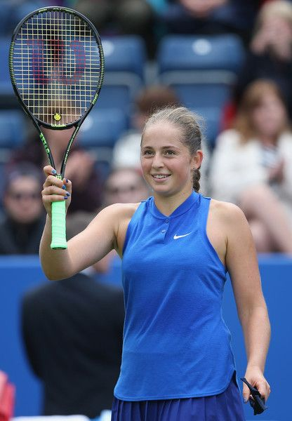 Jelena Ostapenko Photos Photos - Jelena Ostapenko of Latvia celebrates her victory during her women's singles second round match against Petra Kvitova of the Czech Republic on day four of the WTA Aegon Classic at Edgbaston Priory Club on June 16, 2016 in Birmingham, England. - Aegon Classic - Day 4