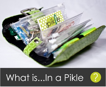 In A Pickle bag. Super cute bag filled with EVERYTHING you could ever need when in a jam. Great gift idea! Going to have to get all my girlfriends one of these...My Mom too!
