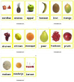 Woordkaarten groente fruit eten drinken voeding kleuters groep 1/2…