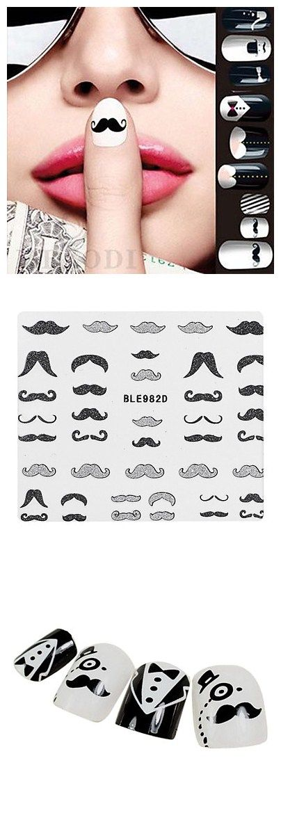 Well, hello Ms. Mustache! These mustache nail decals and tips are so trendy. Show off your sweet style with these manicure ideas!