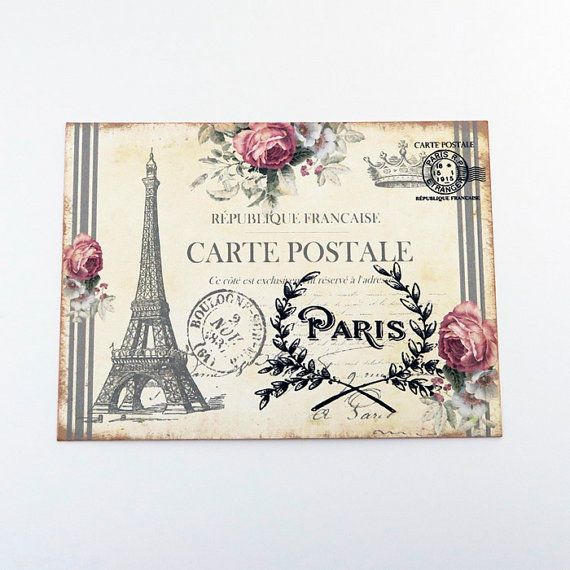 Eiffel Tower Blank Note Cards Paris Vintage by EnchantedQuilling