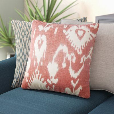 Bungalow Rose Barkbridge Bufford Ikat Linen Throw Pillow Throw