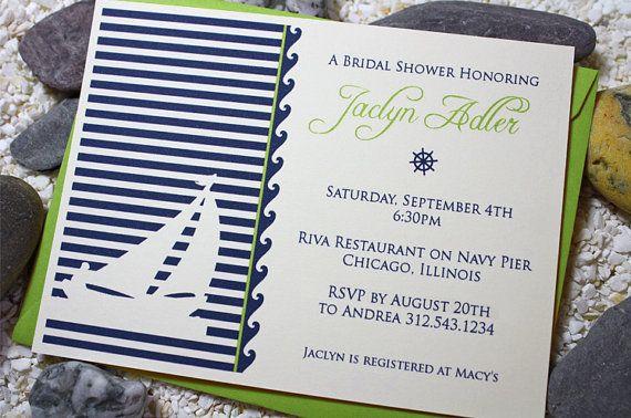Nautical Sailboat Invitation / Engagement Invitation / Bridal Shower Invitation- Set of 12