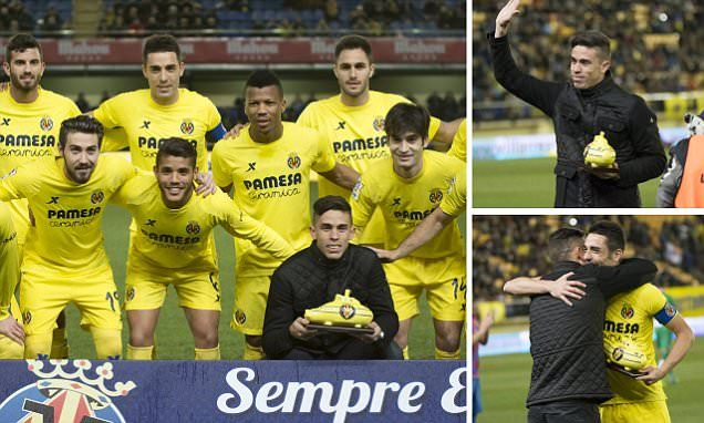 Gabriel Paulista waved a tearful goodbye to Villarreal on Saturday as he closes in on a £15millon move to Arsenal. The 24-year-old's farewell present was a yellow submarine.