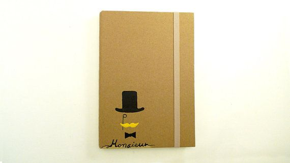 Personalized A6 Notebook with mustache theme / hard cover / journal Hand painted / Personalised christmas gift for him by ArtyBeezzz