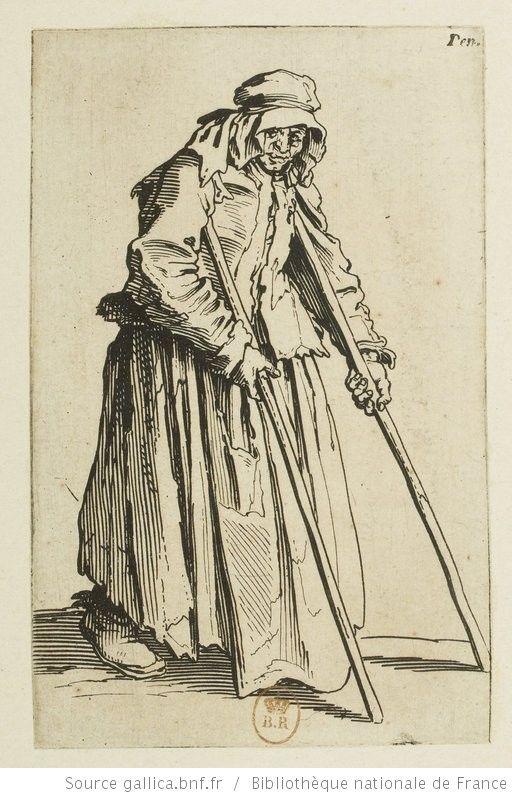 [Les gueux]. [16], [La mendiante aux béquilles] : [estampe] / [Jacques Callot] - 1