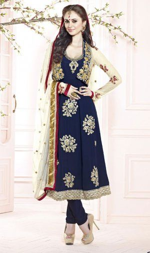 Amazing Navy Blue Color Georgette Bridal Churidar Kameez DLS2413. Sale : $111.00