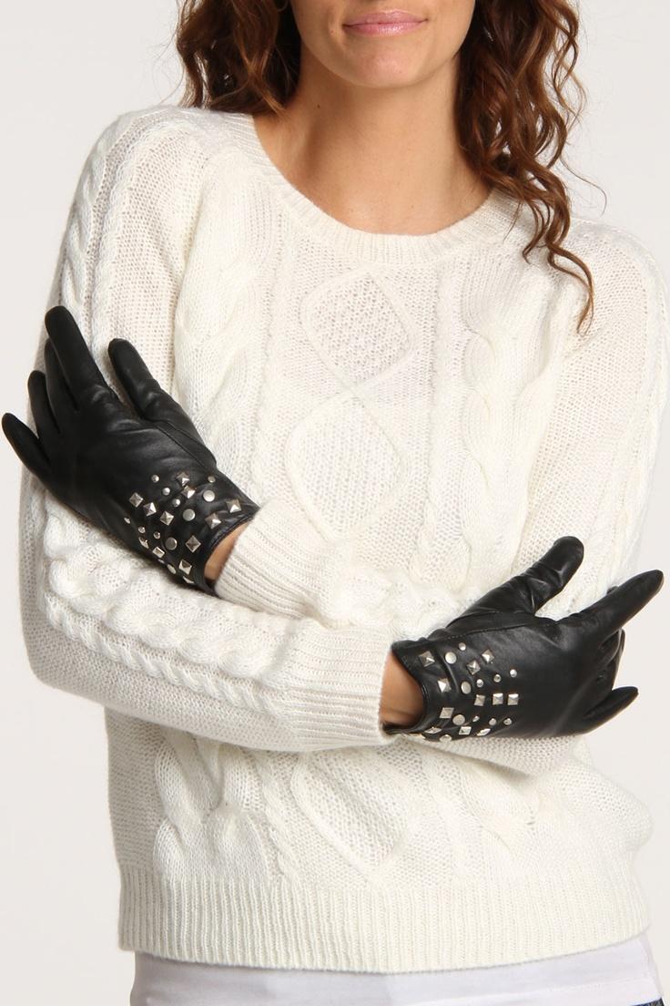 Black leather gloves brisbane - Sally Leather Glove In Black