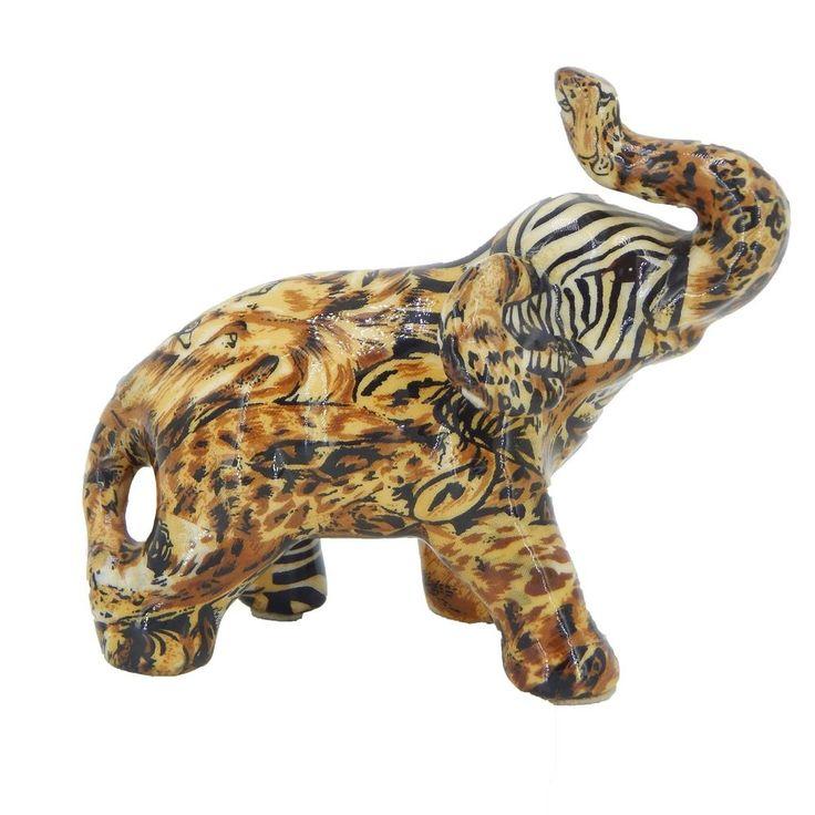 Lucky Trunk Up Elephant Figurine Animal Print Safari Decorative Collectible