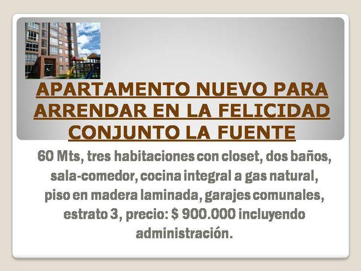 Apartamento para estrenar en arriendo en el sector de La Felicidad - Conjunto La Fuente. Occidente de Bogotá.