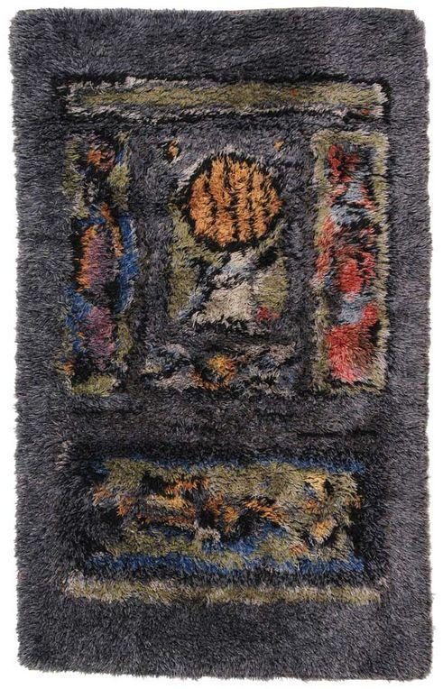 Ramon Isern; Hand-Knotted Wool Rya Rug for Sellgren, 1966.