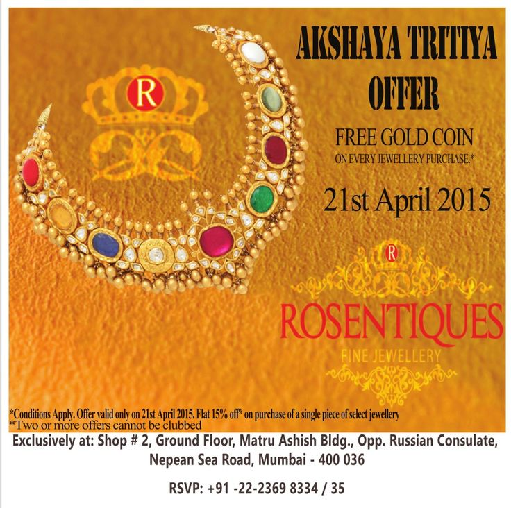 Free #goldcoin on every purchase of #jewellery , 15% off on select piece of Jewellery on #akshaytritiya with @rosentiques