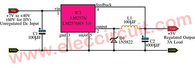 5v 3a switching regulator circuit by lm2576 eleccircuit rh pinterest com