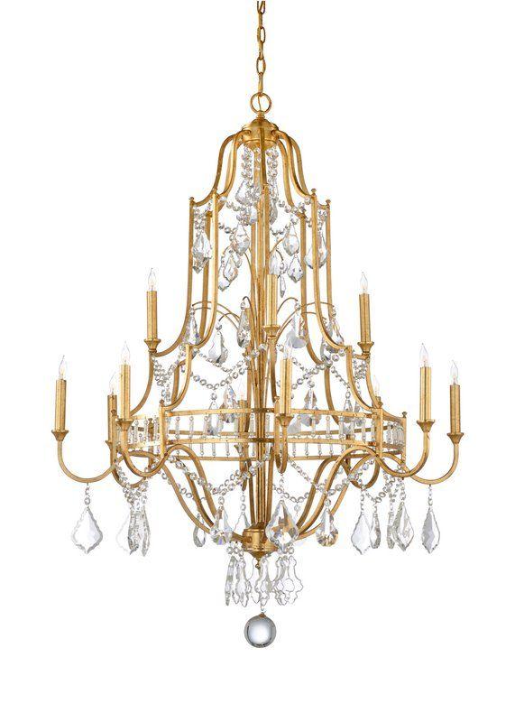 Buckhead 12 Light Candle Style Empire Chandelier Crystal Chandelier Gold Chandelier Chandelier