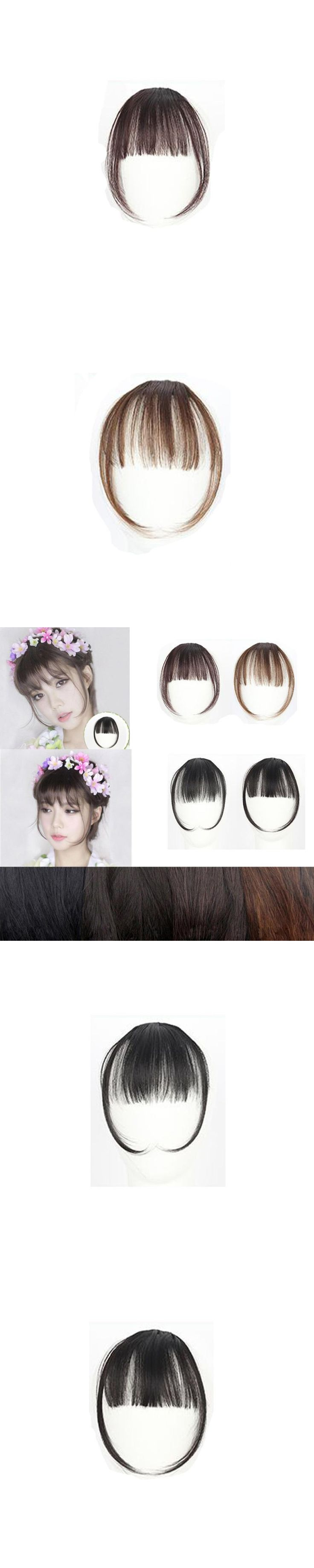 New Hair Piece Bangs Fringes Pretty Girls Clip On Clip In Front longer Hair Bang Fringe Hair Extension Sideburns Piece Thin