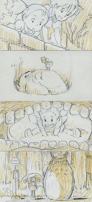 Tonari no Totoro (My Neighbor Totoro), Storyboard, 1988 (dir. Hayao Miyazaki) By Tob Waylan